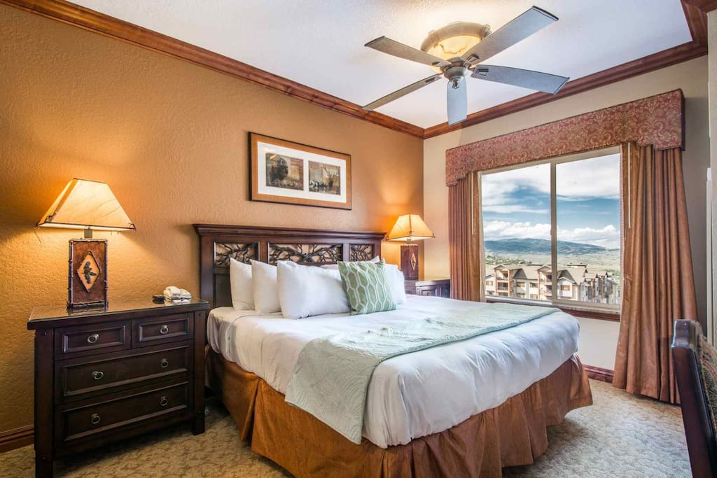 Master Bedroom Features a King Bed & Oversized Jetted Tub