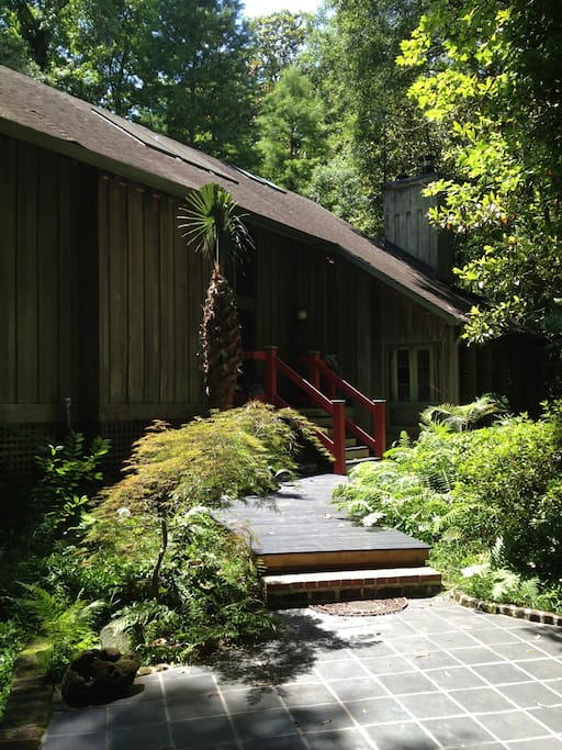 The front walkway leading to the entrance of the Cypress House.