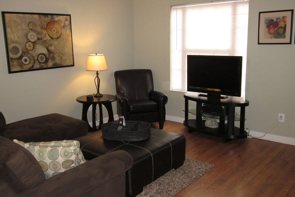Nice visitor chair and 42' digital TV with DVD player.
