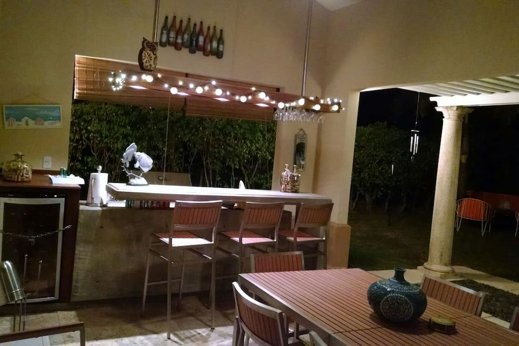 Outdoor bar, wine cooler and BBQ