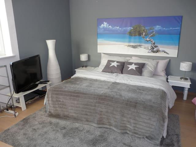 Großes Gästezimmer 23qm mit Doppelbett (1,80x2,00m), TV, Schreibtisch (0,90x1,80m), Schränke und Etagenbett
