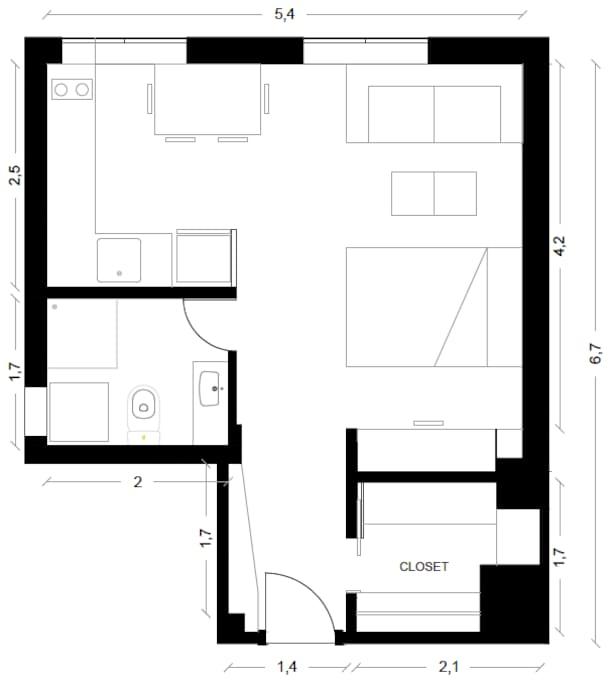 A pesar de los escasos 30 m2 El departamento tiene un holgado walking closet y una buena cocina con cubiertas de granito, un comedor para 4 personas y un confortable sillón de 2,2 m de largo.