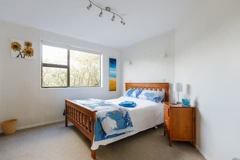 THE BLUE ROOM - this room has a queen size bed, wardrobe and drawers.