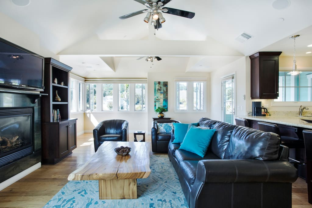 Natural light and coastal breezes make this Avila Beach rental relaxing and comfortable year round.