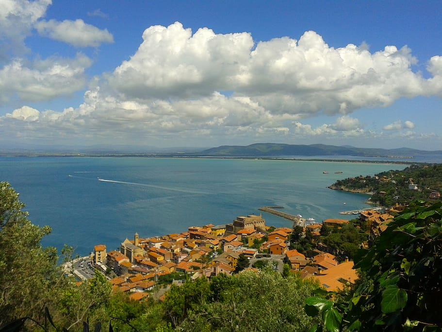 View of the village and the Tuscany coast from the garden