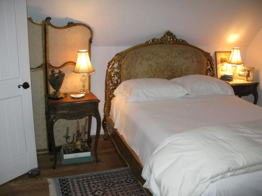 Glorious 22KT GOLD GILDED BED-Like a little Paris Suite! French Bedroom with bathroom. If you have more guests, add the Victorian room adjoining.