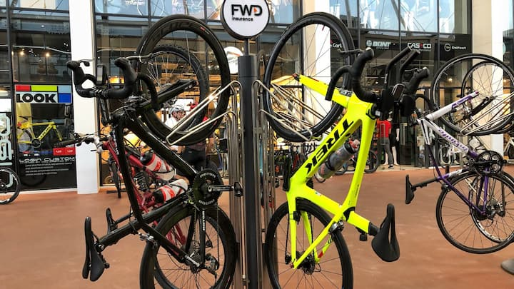 Borrow a bicycle at the track