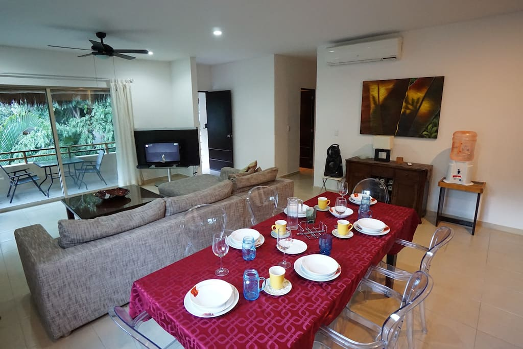 This cute little dining area  is the best place to enjoy your meal + Living area  & Balcony
