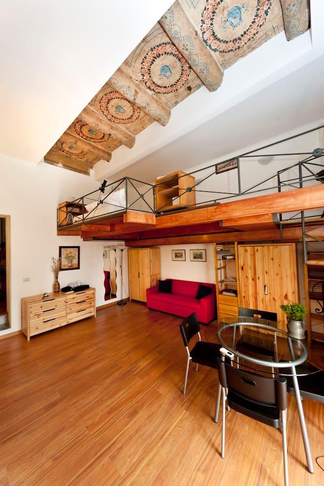 sitting room and sleeping loft