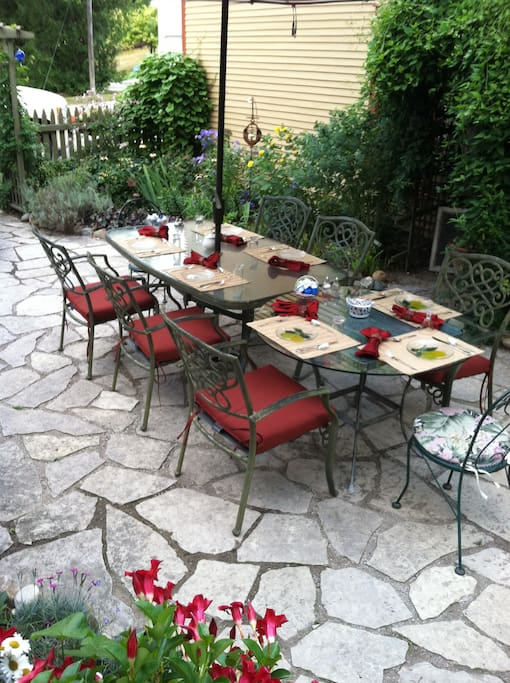 Breakfast outside in the patio garden when the weather allows, is a favorite way to start the morning.