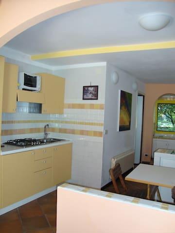 Cucina e, visibile, la finestra sul  girardino di via Garibaldi.