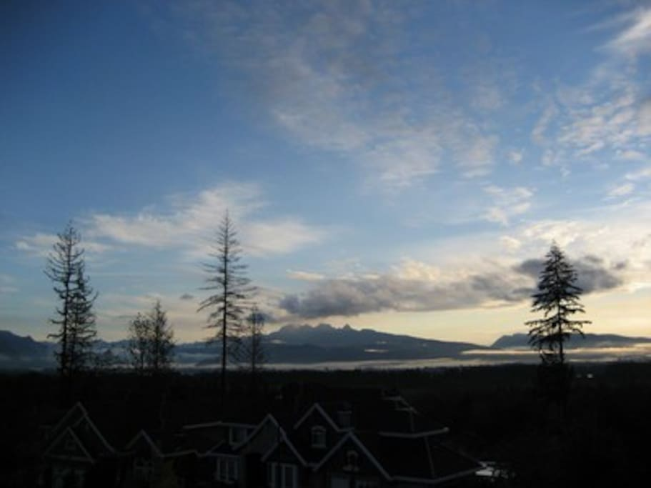 Early morning clouds of the Fraser Valley from window view