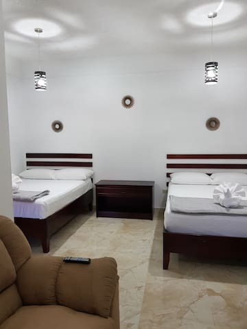 This very spacious room can fit up to four persons