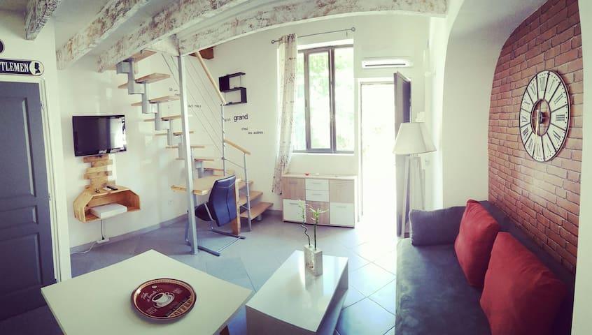 Salon avec canapé convertible en lit 2 places 160x200 et Clim réversible