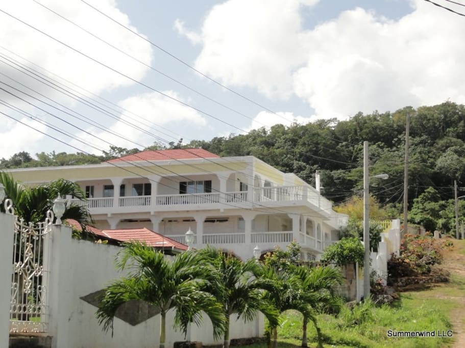 The villa is situated in the hills in Boscobel, St. Mary Parish, Jamaica.