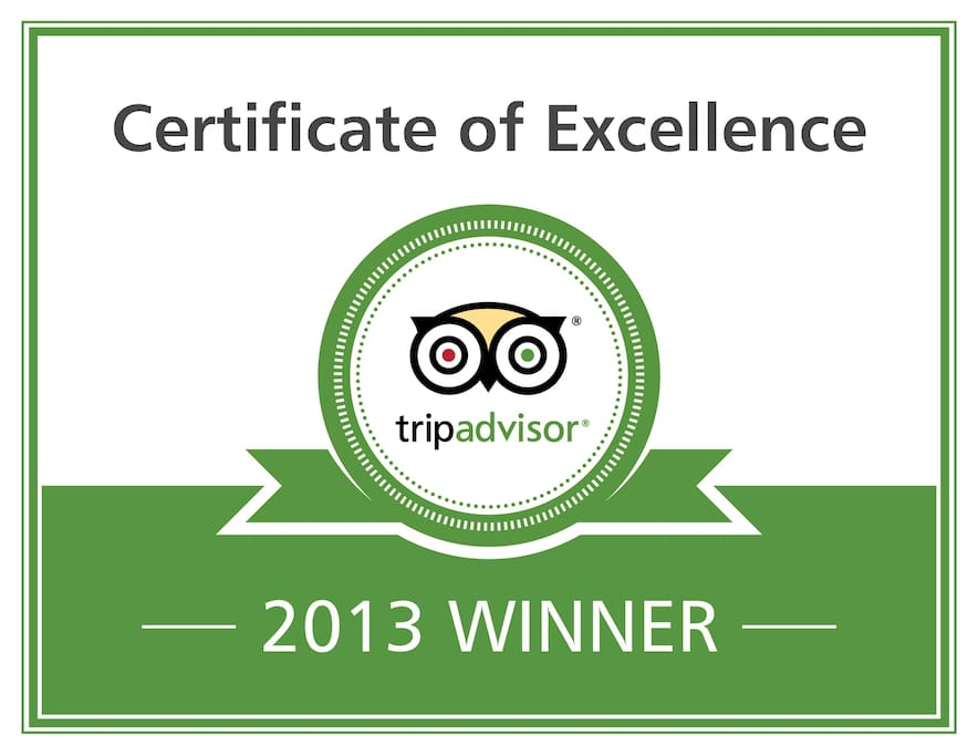 For the 2nd year in a row, we are very pleased to be awarded the Trip Advisor Certificate of Excellence
