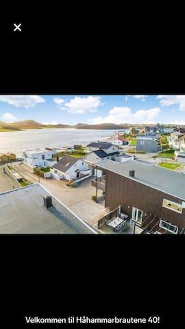Nyere flott og moderne funkis bolig ved sjøen.