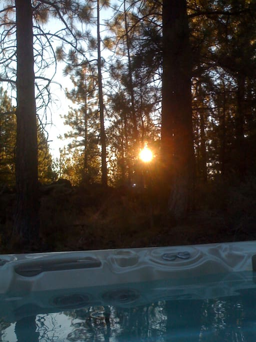sunrise from the hot tub on back deck