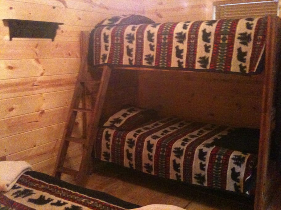 Some sleeping cabins have bunk beds but you only room share with someone you request to be with