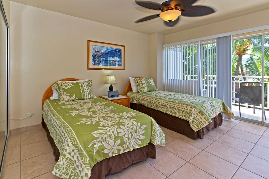 Queen Bed and Twin Bed in Bedroom