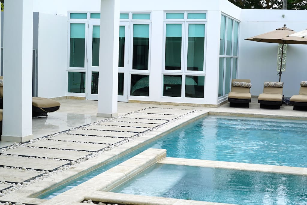 Modern Zen Room view from Pool