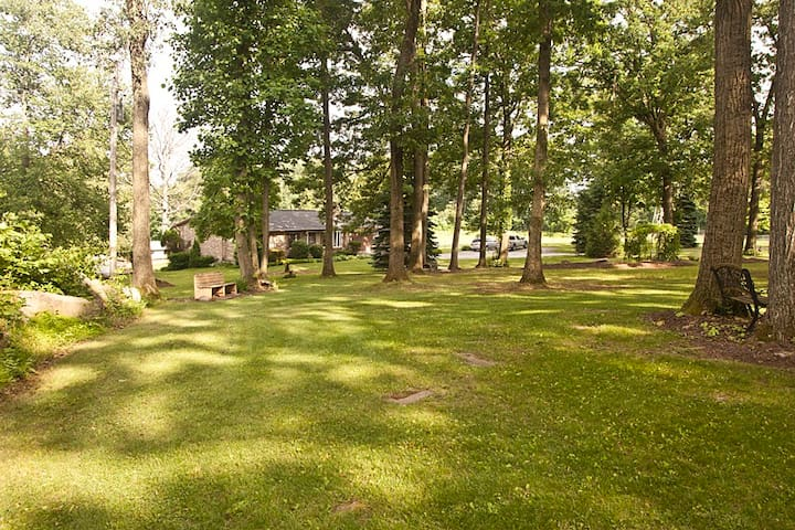 House and front yard showing benches for relaxing.  Watch the squirrels play while listening to dove, woodpeckers and song birds.