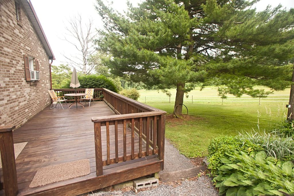 Relax on the deck while sipping your favorite beverage.  Here you can watch grazing horses and even deer at our neighbor's deer farm!
