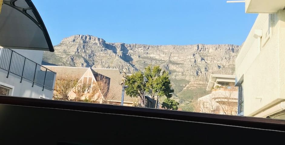 Beautiful view of Table Mountain from the living room couch.