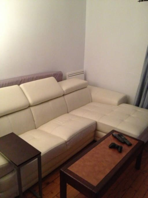 leather couch in the living room