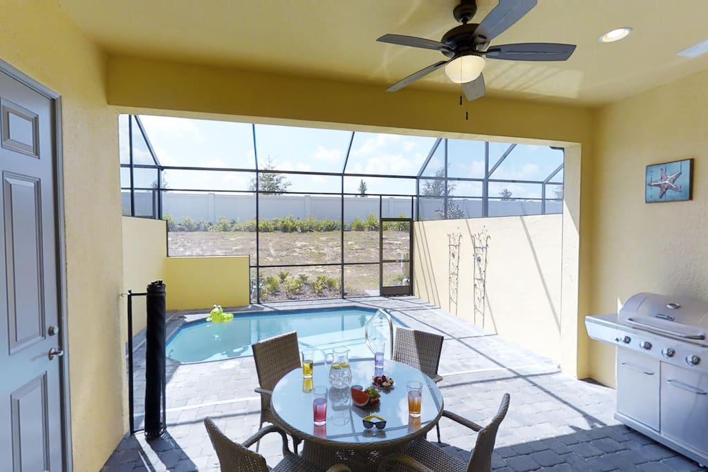 Patio with pool and grill