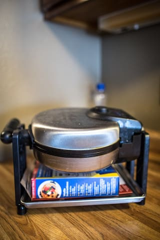 Enjoy breakfast on us! Along with complimentary coffee we also provide a waffle maker, mix and syrup! And if waffles aren't your thing there is a full kitchen available equipped with all of the necessities to make breakfast your way.