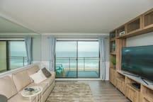Ocean front living with queen sleeper sofa