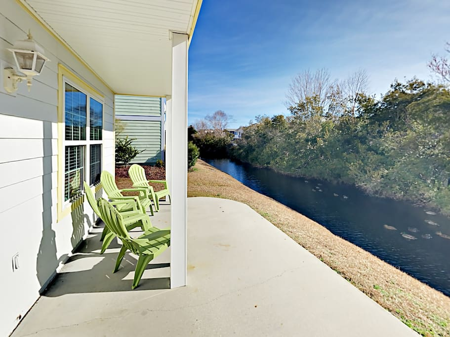 Enjoy your morning coffee in the 4 Adirondack chairs on the back patio overlooking the canal.