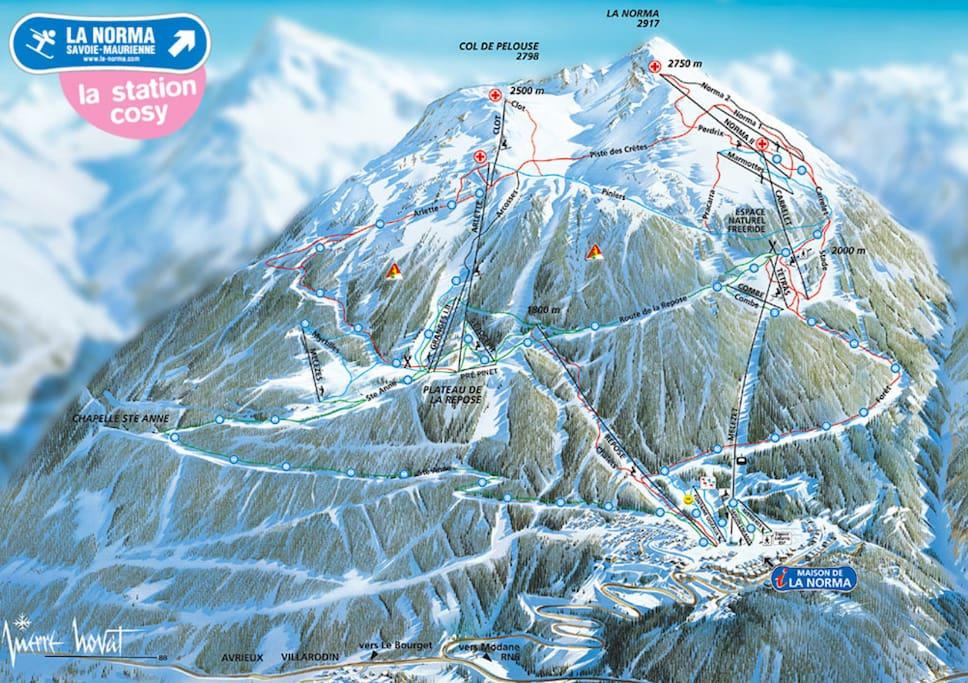 Le domaine skiable confortable et bénéficiant d'un excellent enneigement grâce aux retours d'Est venant d'Italie