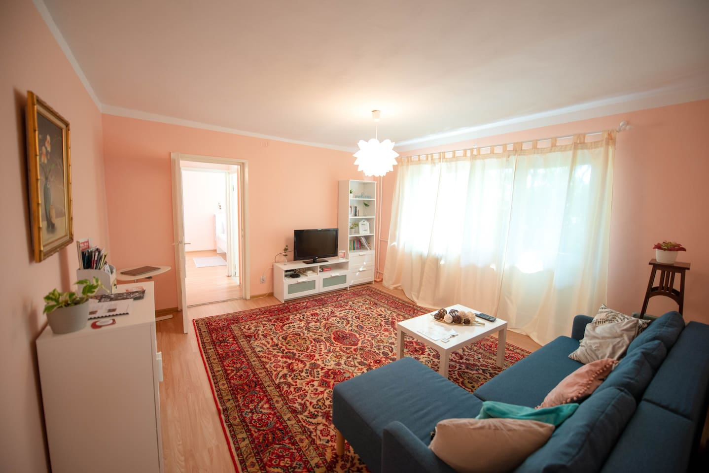 Living room - with a special Timisoara Info Point, board games and mini-free library