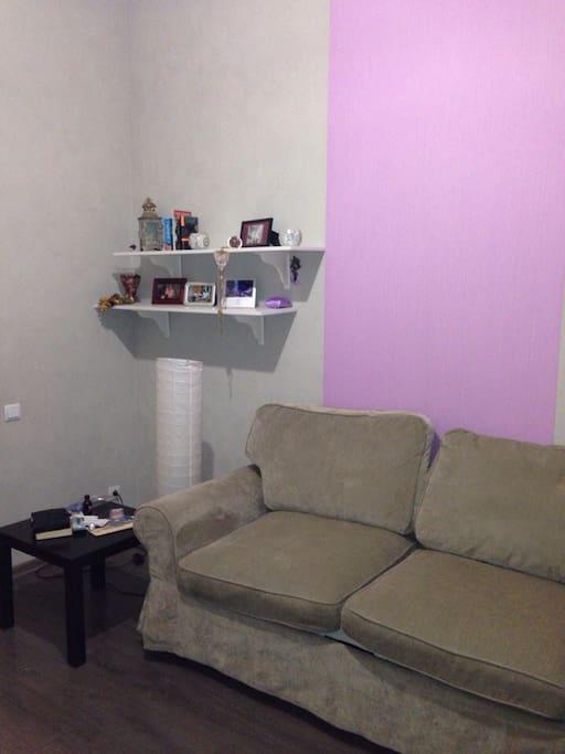 There is sofa bed for 2 persons, bed sheets, towels. В комнате есть диван-кровать для двоих, постельное белье, полотенца.