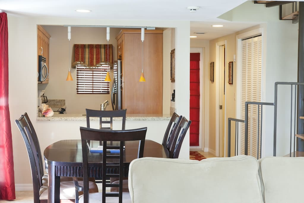 dining area with view to kitchen