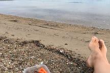 Picnic on a private island beach