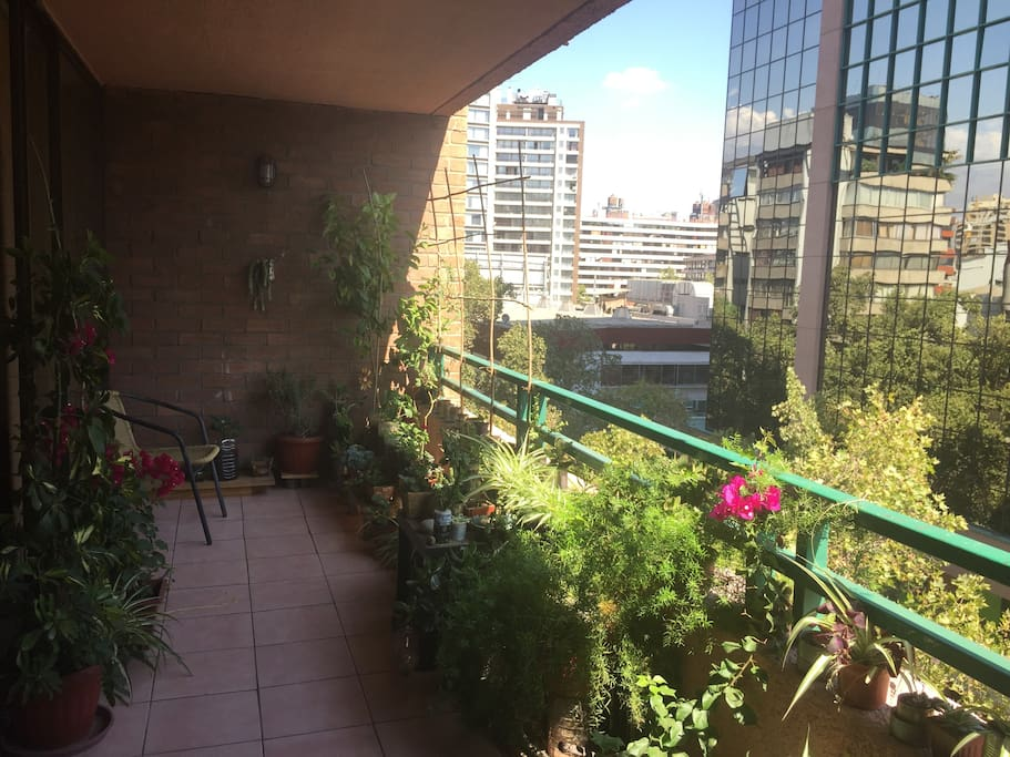 Terraza y jardín en todo el departamento, con vista al Cerro San Cristobal.