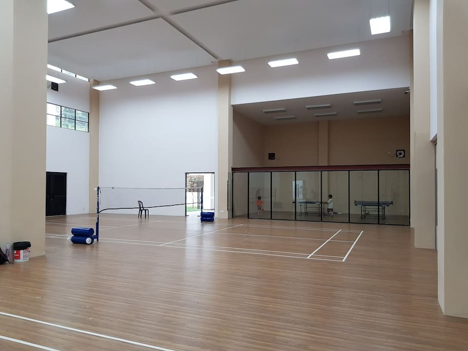 Badminton Courts and Ping Pong Tables. Advance booking is needed and are usually busy over the weekends.