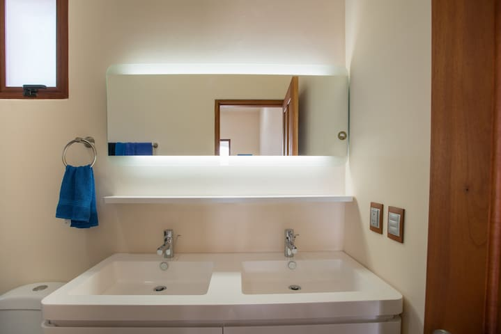 This is Room 1, 2 and 3 Vanity set up. Clean, bright and modern.