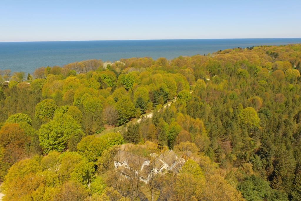 Ariel view of our home, close proximity to Lake Michigan