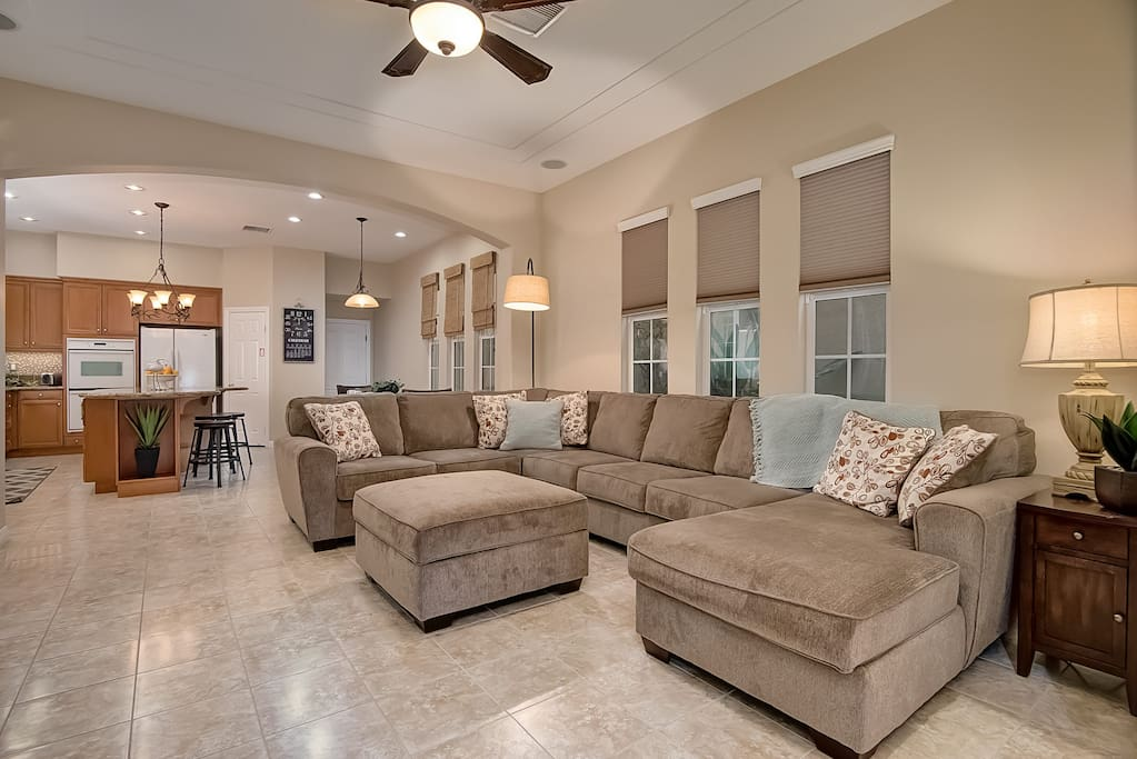 Spacious living room with comfortable seating for all.