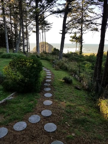 Follow stepping stones from backyard down to private trail to Shelter Cove and Agate Beach.