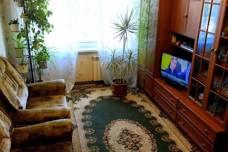 гостинная для троих(большой угловой диван и кресло-кровать)
