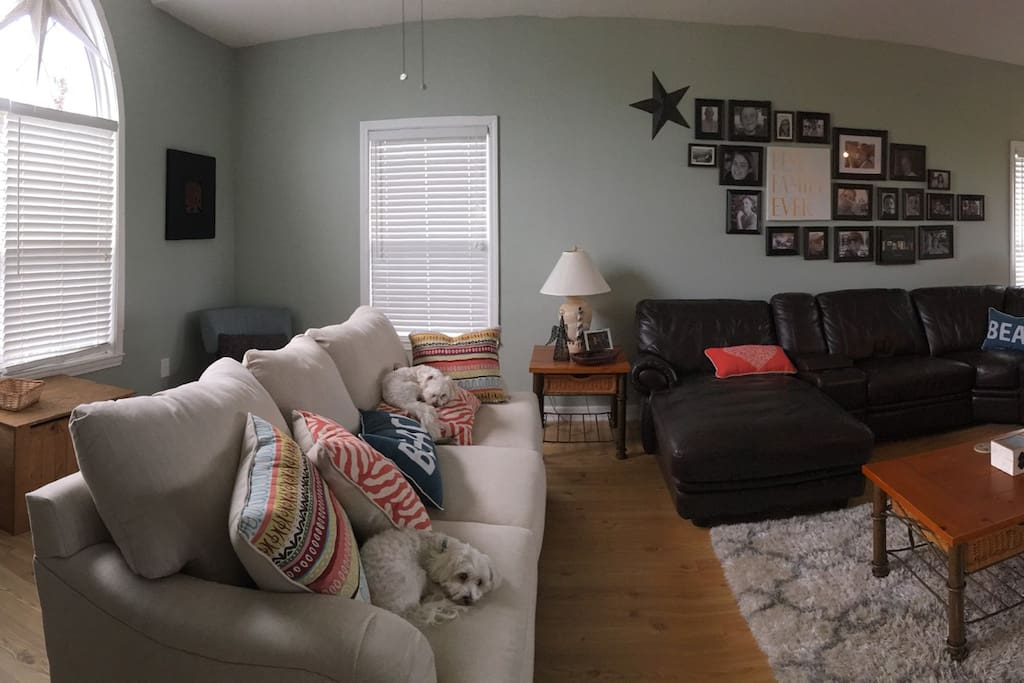 Photo of the living room area where the family can relax and laugh about the day's events.