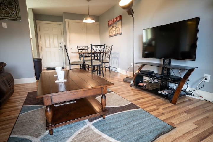 Xfinity/Comcast TV with numerous channels to choose from plus DVD player with access to streaming channels. High speed secure WiFi also accessible throughout condo