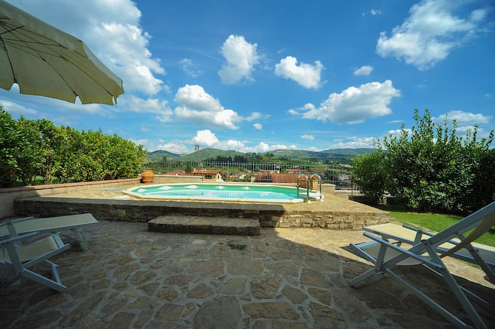 The swimming-pool and the view from the house
