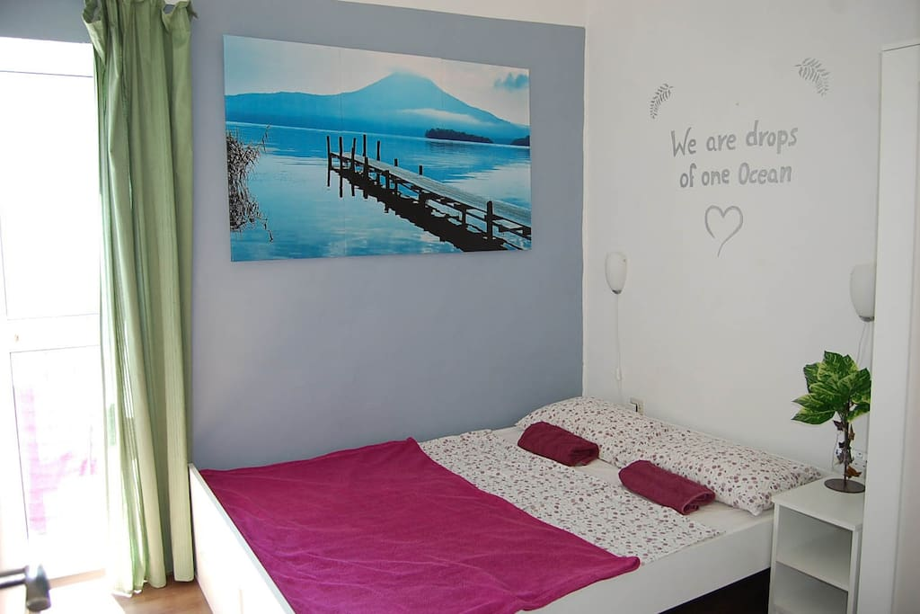 The room has lots of natural light and a sweet mini-balcony for hanging your beach-towels.