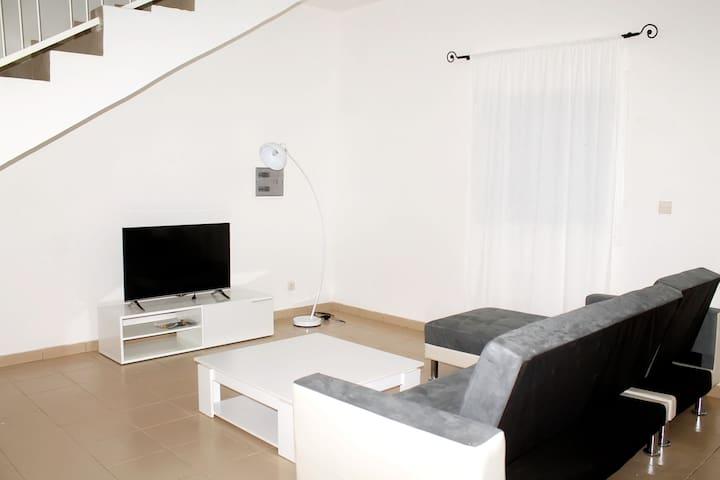 Salon avec canapé-lit. TV/Canal+
